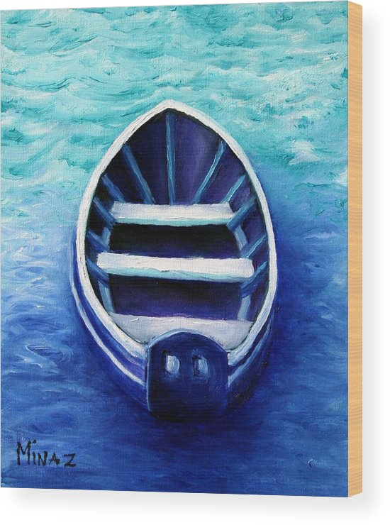 Boat Wood Print featuring the painting Zen Boat by Minaz Jantz