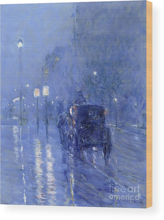 Street Lamp Wood Print featuring the painting Rainy Midnight, Late 1890s by Childe Hassam