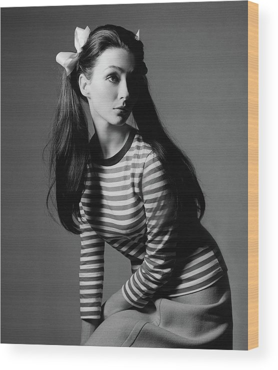 Beauty Wood Print featuring the photograph Christine Curtis With Pigtails by Bert Stern