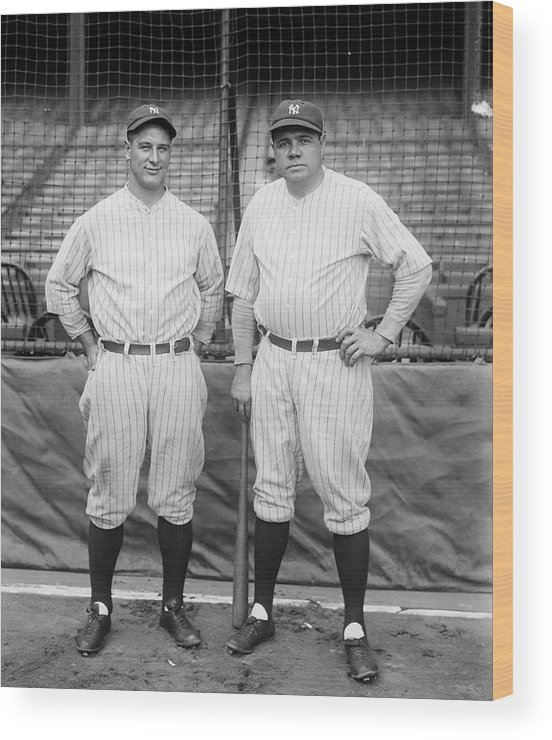 People Wood Print featuring the photograph Lou Gehrig And Babe Ruth by Bettmann