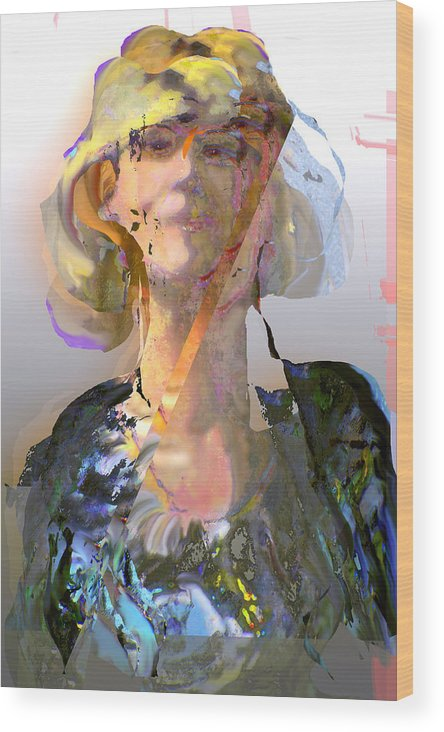 Portrait Wood Print featuring the mixed media Olga by Noredin Morgan