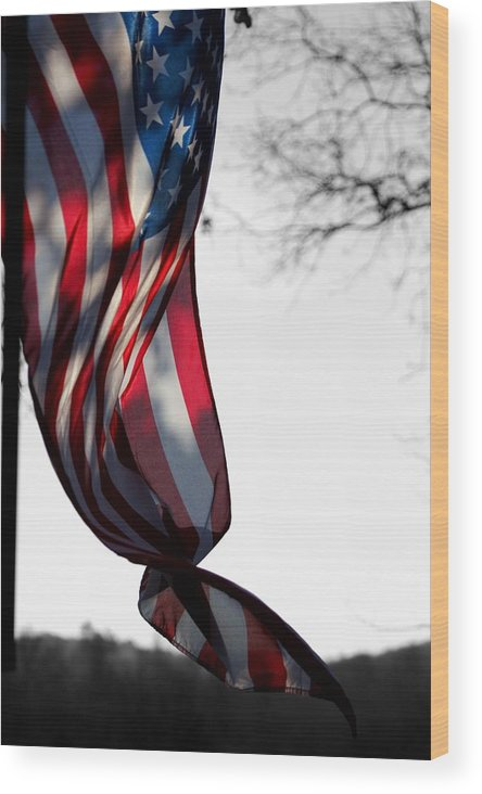 Flag Wood Print featuring the photograph Colors In The Wind by Lisa Johnston