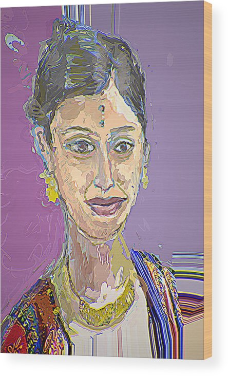 Portrait Wood Print featuring the mixed media Gopika II by Noredin Morgan