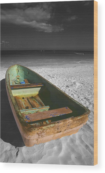 Photography Wood Print featuring the photograph Green Paddle Boat Playa Del Carmen by Tom Fant