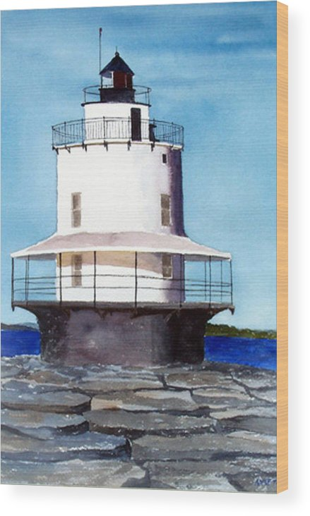 Landscape Wood Print featuring the print Spring Point Ledge Light by Anne Trotter Hodge