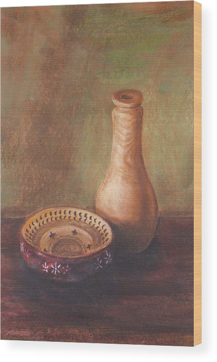 Still Life Wood Print featuring the painting Wooden Vase by Srilata Ranganathan