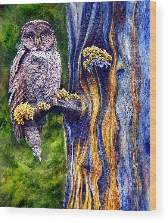 Great Hray Owl In Tree Wood Print featuring the painting Hoo's Look'n by JoLyn Holladay
