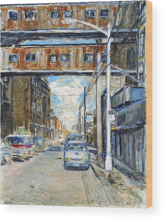 Cityscape Industrial New York Lamp Post Cars Cables Sky Wood Print featuring the painting Williamsburg4 by Joan De Bot