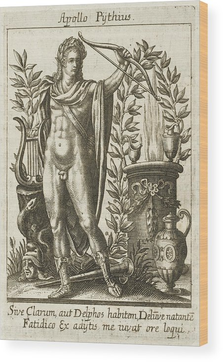 Apollo Wood Print featuring the drawing Apollo Pythias, The Greek God by Mary Evans Picture Library
