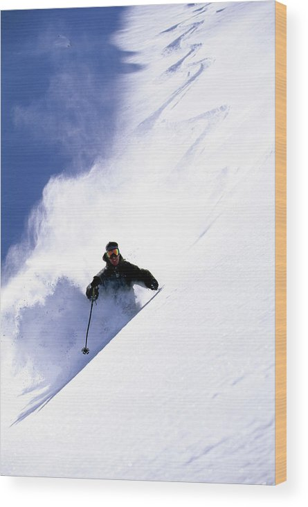 Action Wood Print featuring the photograph Man Skiing In Colorado by Scott Markewitz