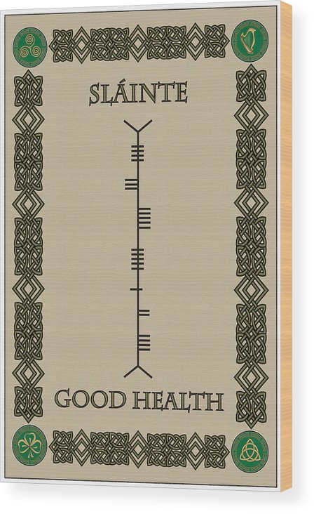 Slainte written in ogham wood print by ireland calling ogham wood print featuring the digital art slainte written in ogham by ireland calling m4hsunfo