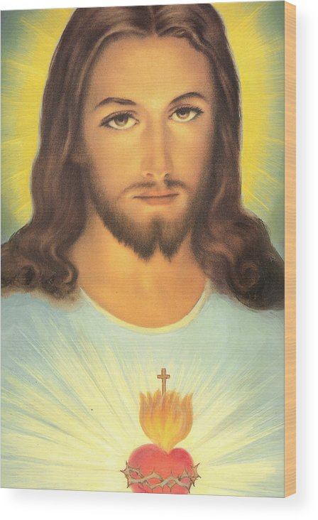 Sacred Wood Print featuring the painting The Sacred Heart Of Jesus by French School