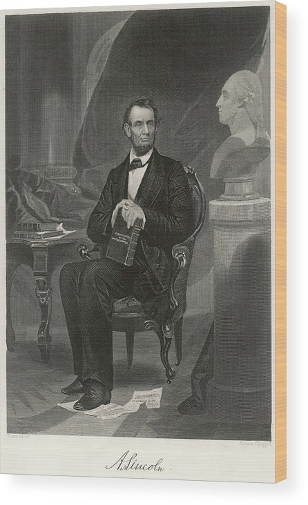 Lincoln Wood Print featuring the drawing Abraham Lincoln (1809 - 1865) U by Mary Evans Picture Library