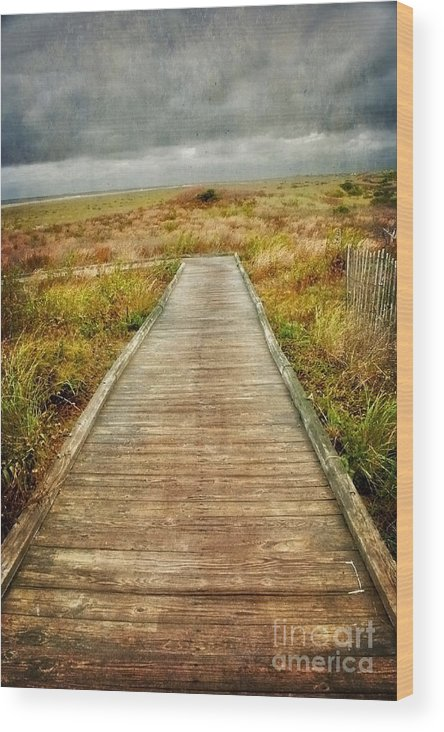 (sea Or Ocean Or Seascape) Wood Print featuring the photograph Beach Walkway by Debra Fedchin