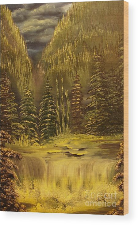 Waterfalls Wood Print featuring the painting Before The Storm-original Sold-buy Giclee Print Nr 37 Of Limited Edition Of 40 Prints by Eddie Michael Beck