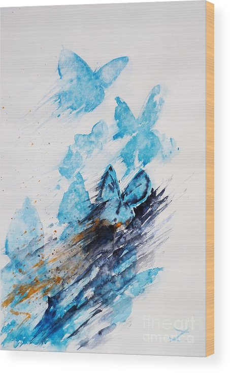 Butterflies Wood Print featuring the painting Blue Butterflies by Zaira Dzhaubaeva