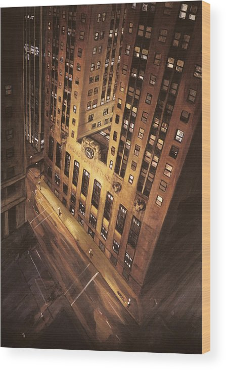 Chicago Wood Print featuring the painting Board Of Trade by Christopher Buoscio