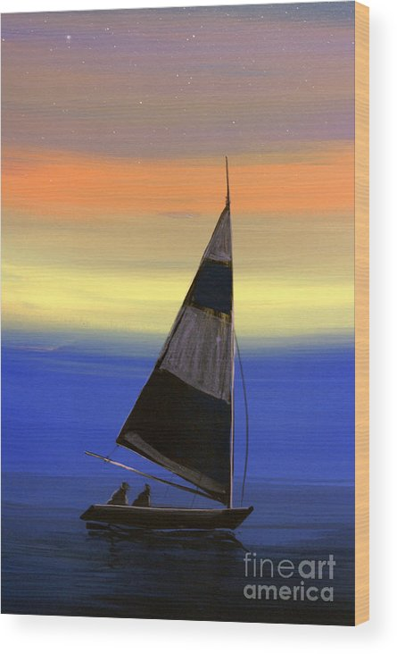 Boat Wood Print featuring the painting Boart 1 by Real ARTIST SINGH