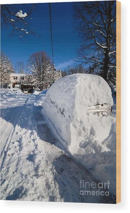 Car Wood Print featuring the photograph Buried In Snow by Amy Cicconi