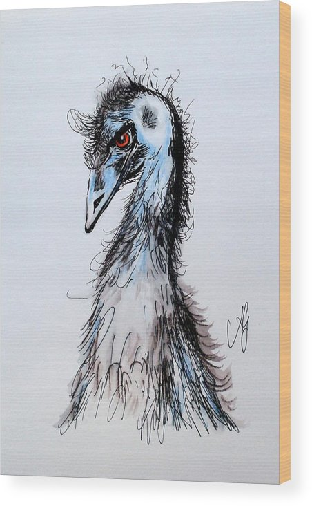 Emu Wood Print featuring the painting Come Up Sometime And See Me by Anne Gardner