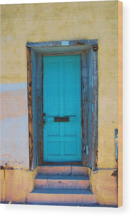 House Wood Print featuring the photograph Door On Adobe House by Richard Jenkins