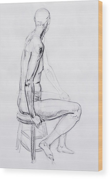Man Wood Print featuring the drawing Figure Drawing Study V by Irina Sztukowski