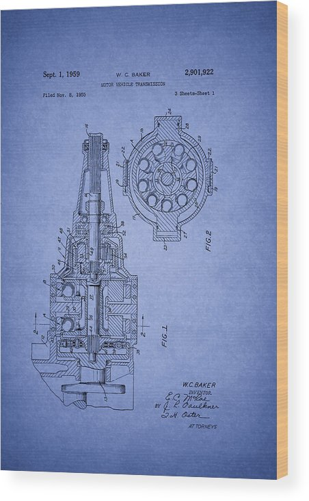 Patent Wood Print featuring the drawing Ford Vehicle Transmission Patent 1959 by Mountain Dreams