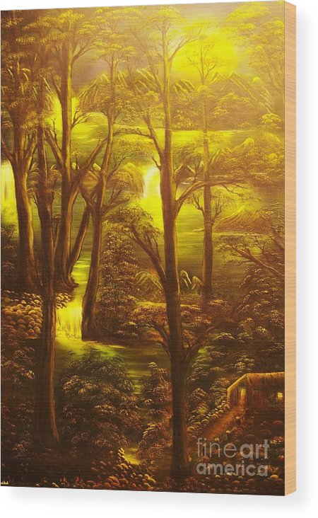 Path Wood Print featuring the painting Glowing Evening Falls-original Sold- Buy Giclee Print Nr 28 Of Limited Edition Of 40 Prints  by Eddie Michael Beck