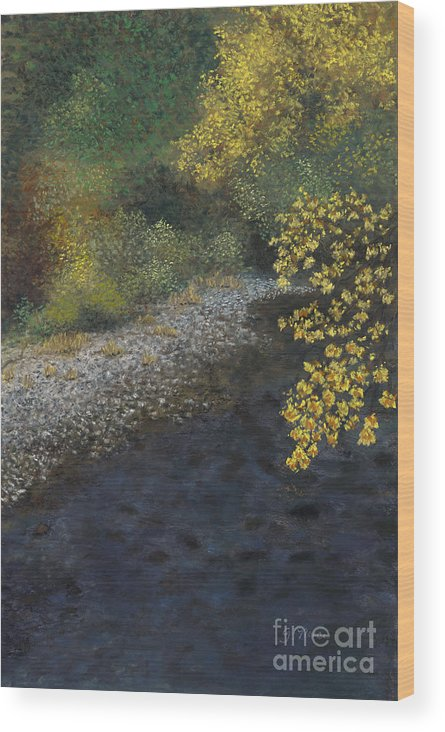 Creek Wood Print featuring the painting Golden Overhang by Ginny Neece