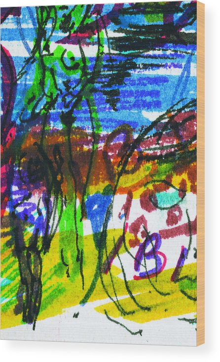 Ibiza Wood Print featuring the painting Ibiza 7 by Anthony Fox