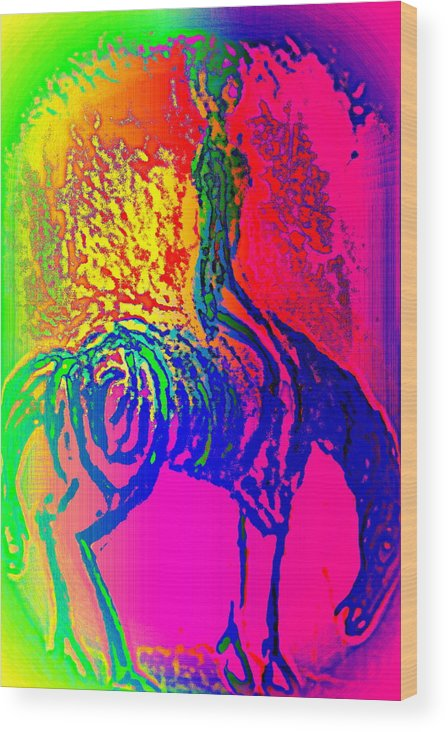 Rider Wood Print featuring the painting I Know That I Have This Inner Spirit But Can You See It by Hilde Widerberg