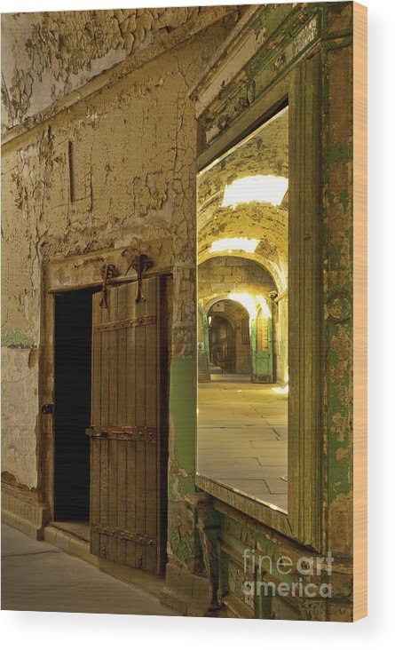 Eastern State Penitentiary Wood Print featuring the photograph Into The Looking Glass by Paul W Faust - Impressions of Light