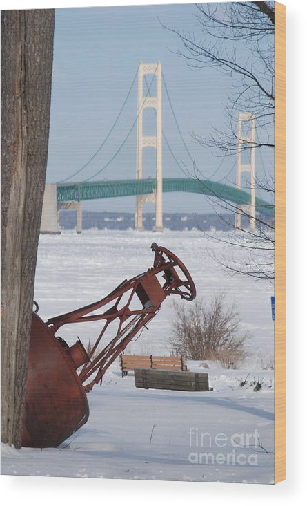 Mighty Mac Wood Print featuring the photograph Iron Buoy And Mighty Mac by Optical Playground By MP Ray