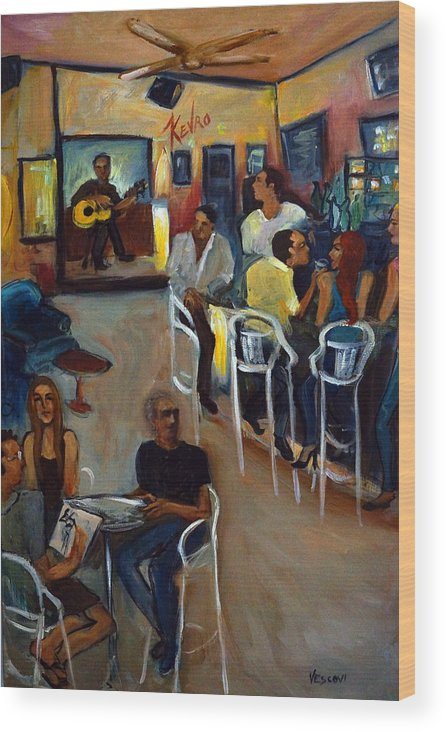 Art Bar Wood Print featuring the painting Kevro's Art Bar by Valerie Vescovi