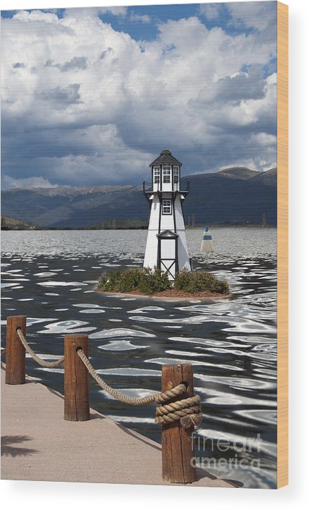 Building Exterior Wood Print featuring the photograph Lighthouse In Lake Dillon by Juli Scalzi