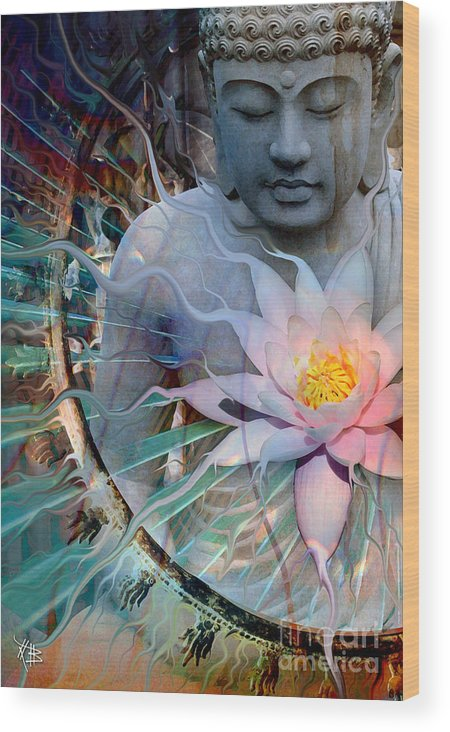 Buddha Wood Print featuring the painting Living Radiance by Christopher Beikmann