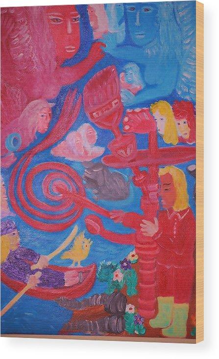 Looking In To The Heavan Wood Print featuring the painting Looking In To The Heaven by Monet Nishimura