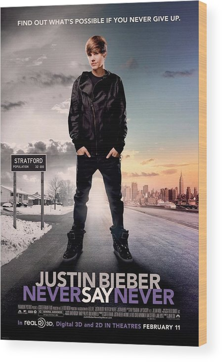 Justin Bieber Wood Print featuring the photograph Never Say Never 1 by Movie Poster Prints