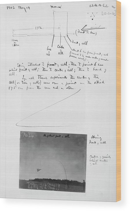 Notebook Wood Print featuring the photograph Notes On Flight Experiments At Baddeck by Gilbert H. Grosvenor Collection Of Photographs Of The Alexander Graham Bell Family/library Of Congress/science Photo Library