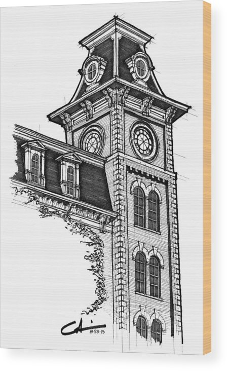 Old Main Wood Print featuring the drawing Old Main by Calvin Durham