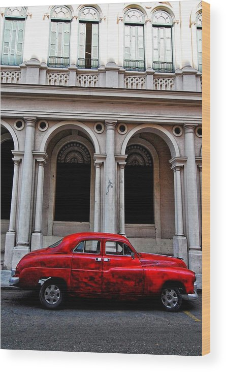 Havana Wood Print featuring the photograph Old Red Car In Havana by Larry Sides