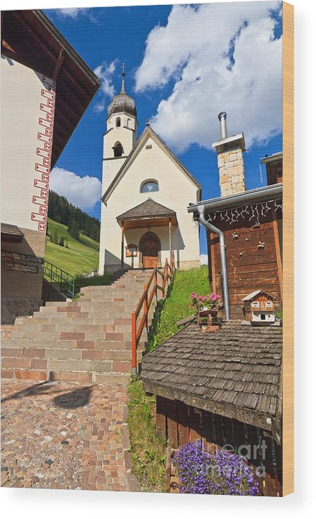 Alpine Wood Print featuring the photograph Penia - Small Church by Antonio Scarpi