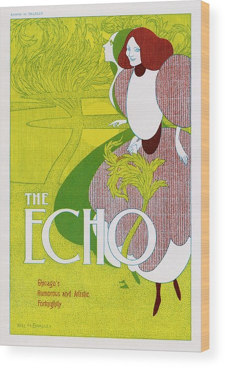 Advert Wood Print featuring the drawing Poster For 'the Echo' - Chicago's by Mary Evans Picture Library