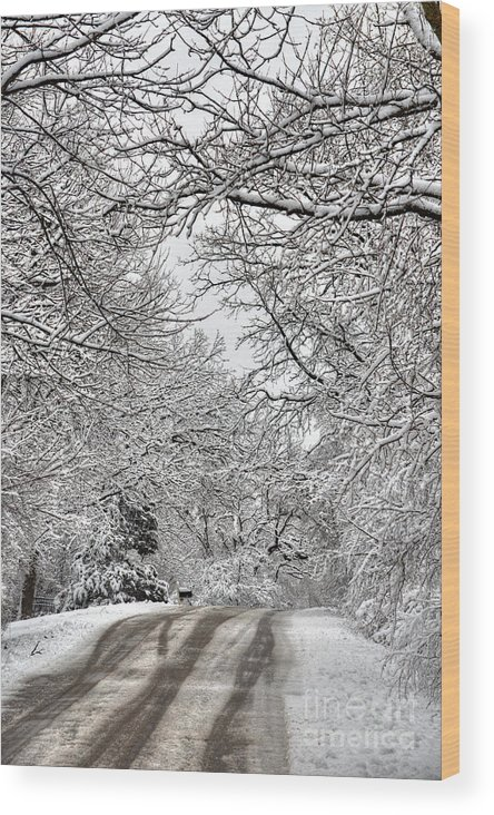 Winter Wood Print featuring the photograph Road To Winter by Deborah Smolinske