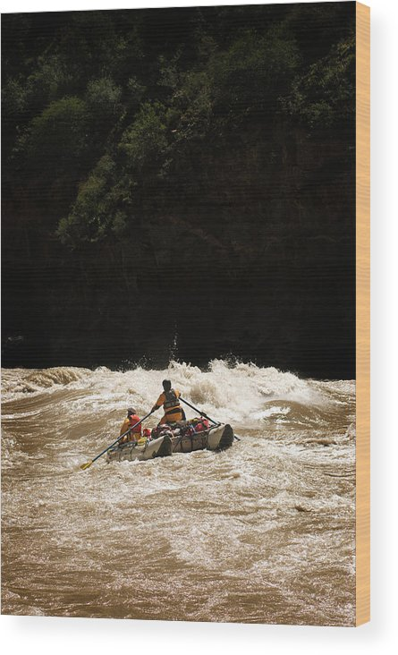 Adventure Wood Print featuring the photograph Rubber Raft Running Rapids by Kyle George