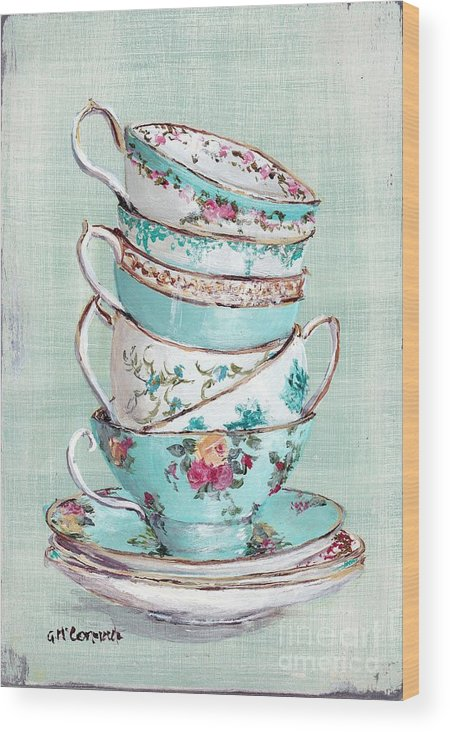 Aqua Themed Tea Cups Wood Print featuring the painting Stacked Aqua Themed Tea Cups by Gail McCormack
