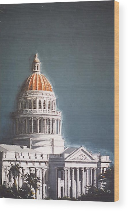 Sacramento Wood Print featuring the painting State Capitol by Paul Guyer