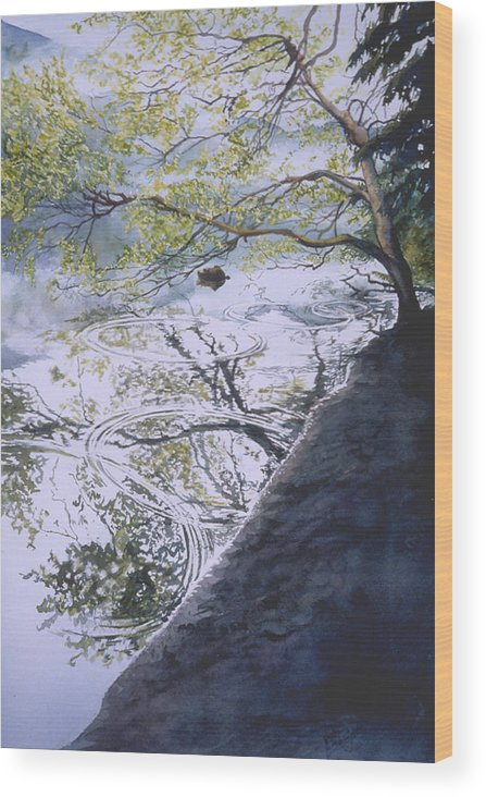 Lake Wood Print featuring the painting Stillness And Simplicity by Nancy Delgado