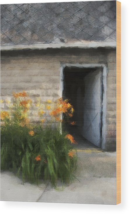 Flowers Wood Print featuring the photograph Stone Barn Neo by David Lange