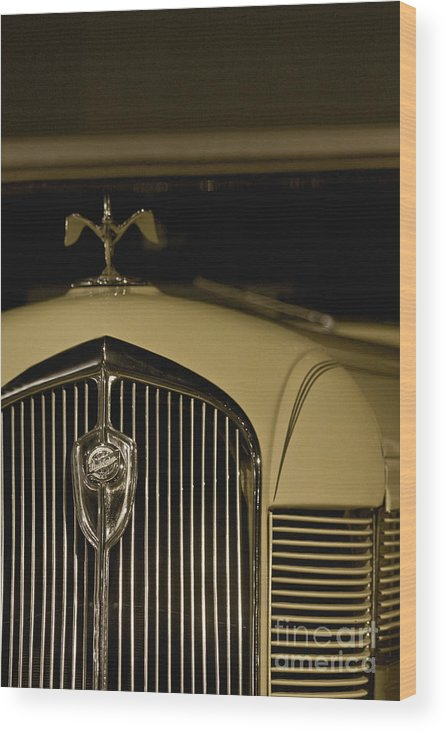 Detail; Old; Car; Vintage; Auto; Automobile; Yellow; Grill; Tan; Vehicle; Antique; Transportation; Parked; Studebaker; Window Wood Print featuring the photograph Studebaker by Margie Hurwich